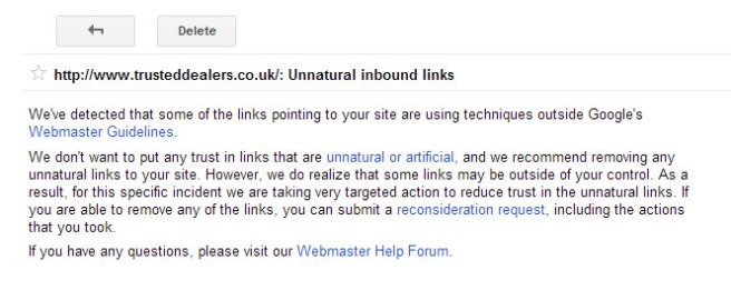 Google unnatural links warning